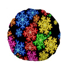 Colourful Snowflake Wallpaper Pattern Standard 15  Premium Round Cushions