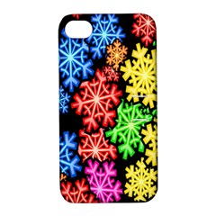 Colourful Snowflake Wallpaper Pattern Apple iPhone 4/4S Hardshell Case with Stand
