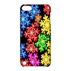 Colourful Snowflake Wallpaper Pattern Apple iPod Touch 5 Hardshell Case with Stand