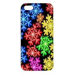 Colourful Snowflake Wallpaper Pattern Apple Iphone 5 Premium Hardshell Case