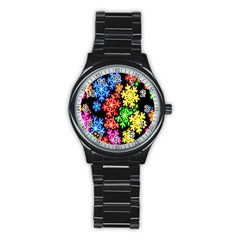Colourful Snowflake Wallpaper Pattern Stainless Steel Round Watch
