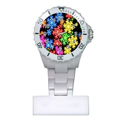 Colourful Snowflake Wallpaper Pattern Plastic Nurses Watch
