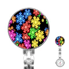 Colourful Snowflake Wallpaper Pattern Stainless Steel Nurses Watch