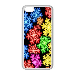 Colourful Snowflake Wallpaper Pattern Apple Iphone 5c Seamless Case (white)