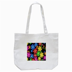 Colourful Snowflake Wallpaper Pattern Tote Bag (white)