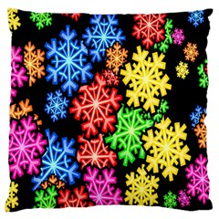 Colourful Snowflake Wallpaper Pattern Large Flano Cushion Case (two Sides)