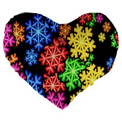 Colourful Snowflake Wallpaper Pattern Large 19  Premium Flano Heart Shape Cushions