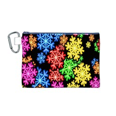 Colourful Snowflake Wallpaper Pattern Canvas Cosmetic Bag (m)