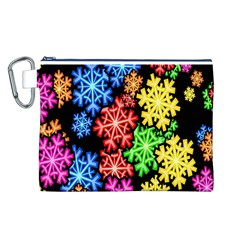 Colourful Snowflake Wallpaper Pattern Canvas Cosmetic Bag (L)