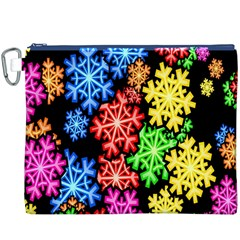 Colourful Snowflake Wallpaper Pattern Canvas Cosmetic Bag (XXXL)