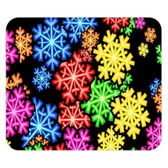 Colourful Snowflake Wallpaper Pattern Double Sided Flano Blanket (small)