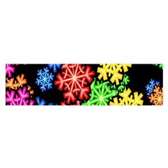 Colourful Snowflake Wallpaper Pattern Satin Scarf (Oblong)