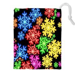 Colourful Snowflake Wallpaper Pattern Drawstring Pouches (XXL)