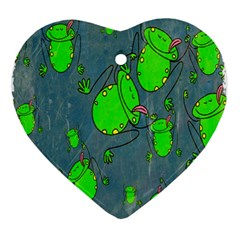 Cartoon Grunge Frog Wallpaper Background Ornament (heart)
