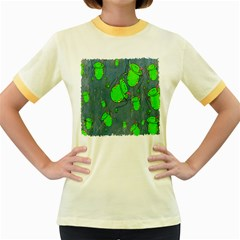 Cartoon Grunge Frog Wallpaper Background Women s Fitted Ringer T Shirts