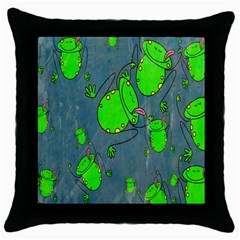 Cartoon Grunge Frog Wallpaper Background Throw Pillow Case (black)