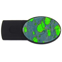 Cartoon Grunge Frog Wallpaper Background USB Flash Drive Oval (2 GB)