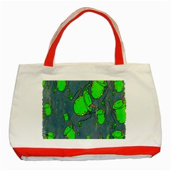 Cartoon Grunge Frog Wallpaper Background Classic Tote Bag (red)