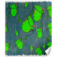 Cartoon Grunge Frog Wallpaper Background Canvas 8  x 10
