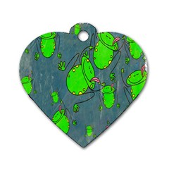Cartoon Grunge Frog Wallpaper Background Dog Tag Heart (Two Sides)
