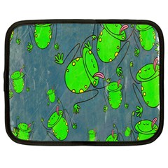 Cartoon Grunge Frog Wallpaper Background Netbook Case (Large)