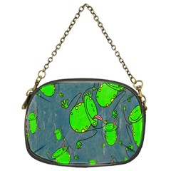 Cartoon Grunge Frog Wallpaper Background Chain Purses (Two Sides)