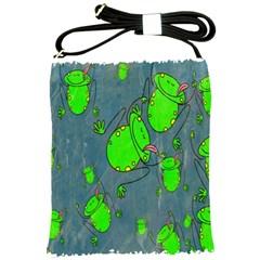 Cartoon Grunge Frog Wallpaper Background Shoulder Sling Bags