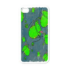 Cartoon Grunge Frog Wallpaper Background Apple iPhone 4 Case (White)