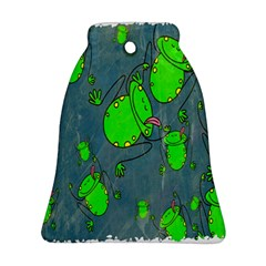 Cartoon Grunge Frog Wallpaper Background Bell Ornament (Two Sides)