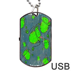 Cartoon Grunge Frog Wallpaper Background Dog Tag USB Flash (One Side)