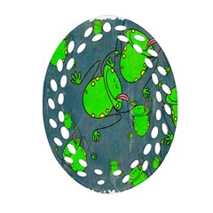 Cartoon Grunge Frog Wallpaper Background Ornament (Oval Filigree)