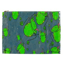 Cartoon Grunge Frog Wallpaper Background Cosmetic Bag (XXL)
