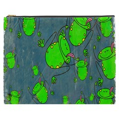 Cartoon Grunge Frog Wallpaper Background Cosmetic Bag (XXXL)