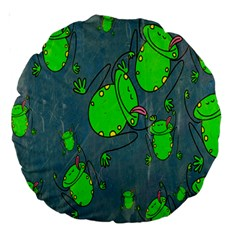 Cartoon Grunge Frog Wallpaper Background Large 18  Premium Round Cushions
