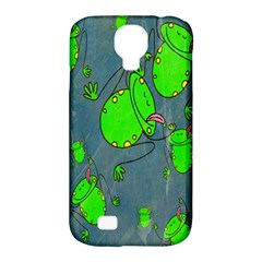 Cartoon Grunge Frog Wallpaper Background Samsung Galaxy S4 Classic Hardshell Case (pc+silicone)