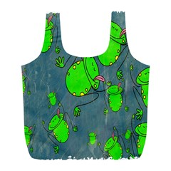 Cartoon Grunge Frog Wallpaper Background Full Print Recycle Bags (L)