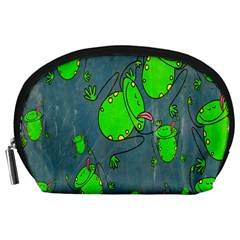 Cartoon Grunge Frog Wallpaper Background Accessory Pouches (Large)