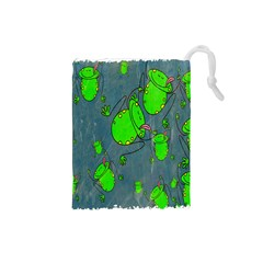 Cartoon Grunge Frog Wallpaper Background Drawstring Pouches (Small)