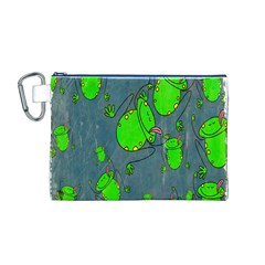 Cartoon Grunge Frog Wallpaper Background Canvas Cosmetic Bag (m)