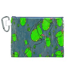 Cartoon Grunge Frog Wallpaper Background Canvas Cosmetic Bag (XL)