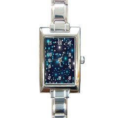Digitally Created Snowflake Pattern Background Rectangle Italian Charm Watch