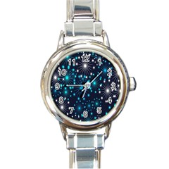 Digitally Created Snowflake Pattern Background Round Italian Charm Watch
