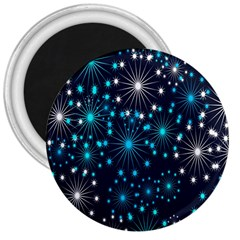 Digitally Created Snowflake Pattern Background 3  Magnets