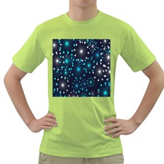 Digitally Created Snowflake Pattern Background Green T-Shirt
