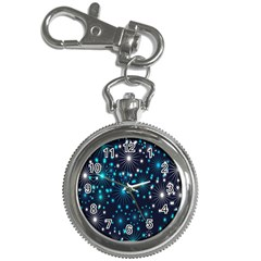 Digitally Created Snowflake Pattern Background Key Chain Watches