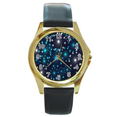 Digitally Created Snowflake Pattern Background Round Gold Metal Watch