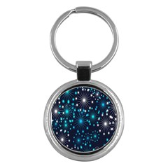 Digitally Created Snowflake Pattern Background Key Chains (round)