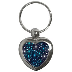 Digitally Created Snowflake Pattern Background Key Chains (Heart)