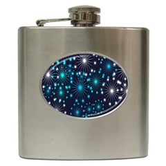 Digitally Created Snowflake Pattern Background Hip Flask (6 oz)