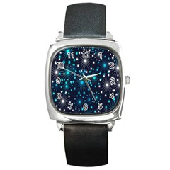 Digitally Created Snowflake Pattern Background Square Metal Watch